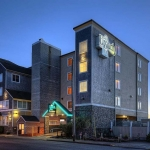 Elizabeth Oceanfront Suites hotel at dusk